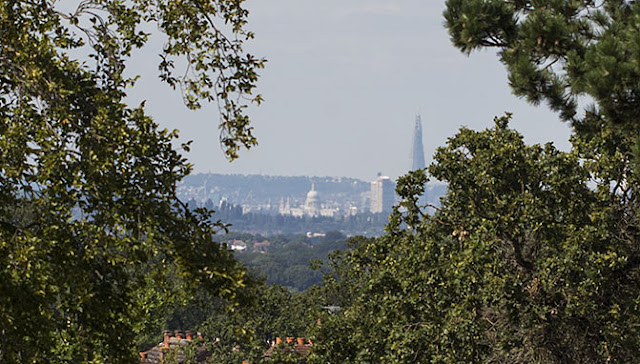 View north from Keston Windmill.  St Paul's Cathedral and The Shard.  31 August 2012.