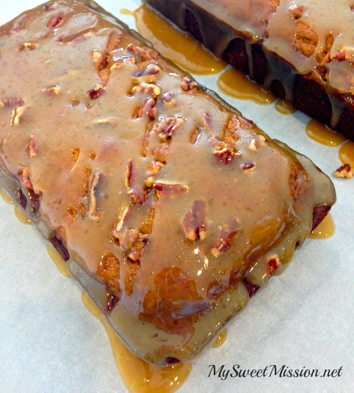 Pecan Pumpkin Bread with Warm Caramel Glaze by My Sweet Mission