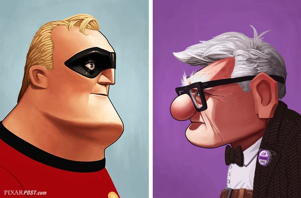 Mr Incredible and Carl Fredricksen Mike Mitchell Mondo Print Oh My Disney Pixar Post