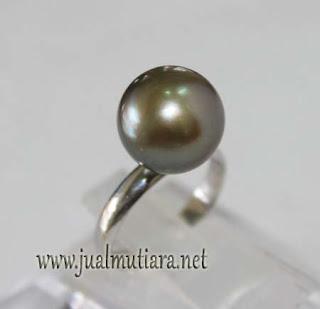 Cincin Emas Putih Mutiara asli