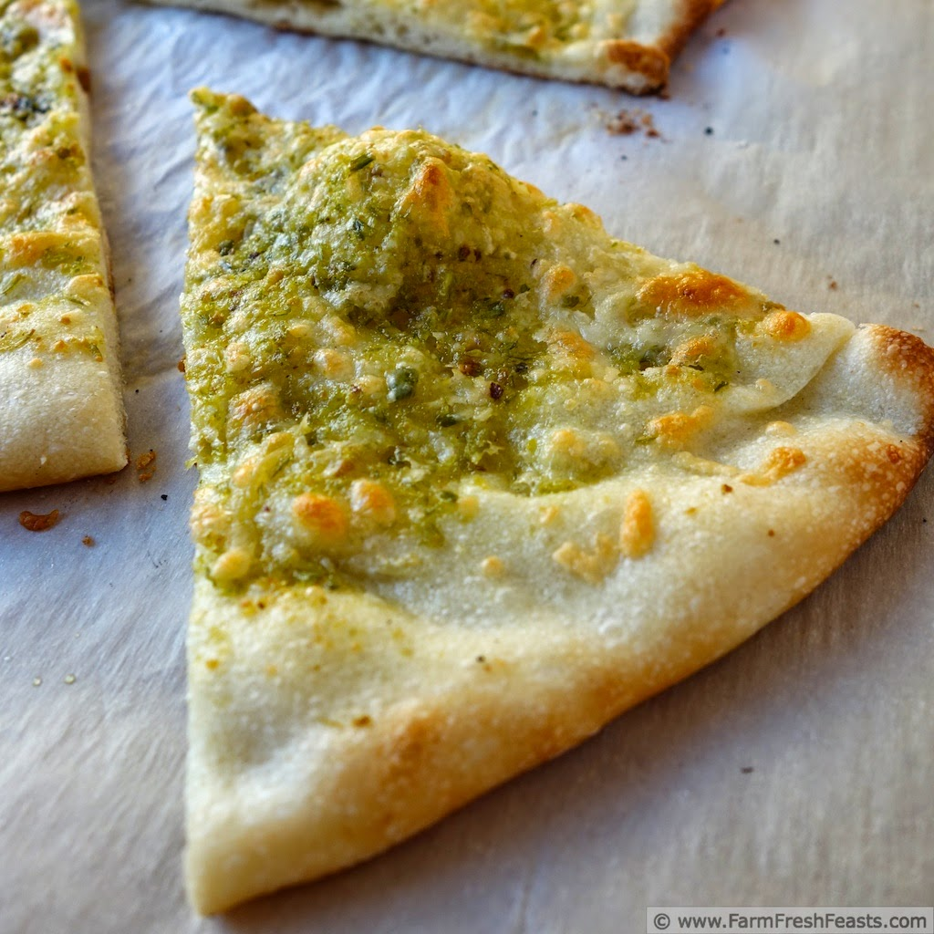 Garlic Scape Pesto Cheesy Flatbread Pizza | Farm Fresh Feasts