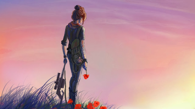 Soldier girl poppies sunset HD Wallpaper