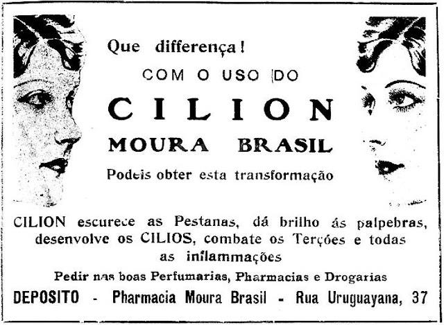 Produto para desenvolvimento dos cílios das mulheres em 1928.
