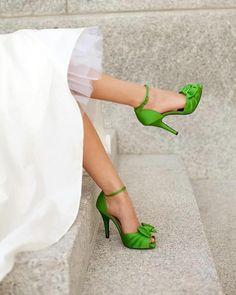 buty do ślubu zielone jabłko