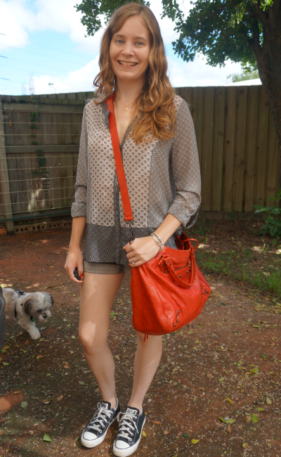 Jeanswest Ruby Mixed Print Shirt shorts converse red bag nursing friendly playdate summer outfit
