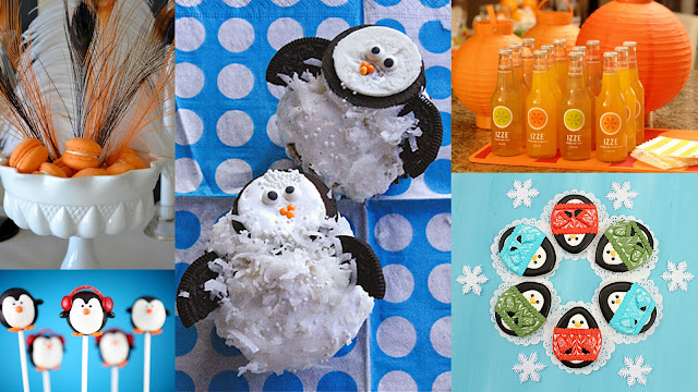 penguins party food collage