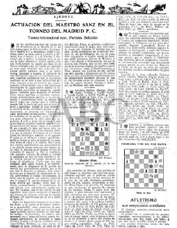 Artículo sobre el Torneo Internacional de Ajedrez del Madrid F.C. 1936 en ABC