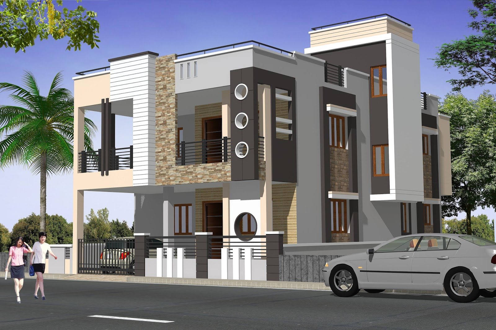 Contemporary house design elevation rachana architect for House plans architect