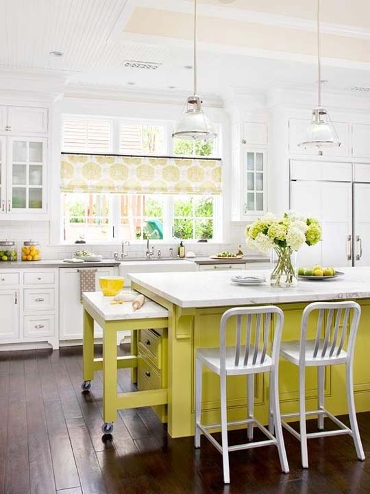 Fresh kitchen design ideas with green and yellow colours for Fresh kitchen designs