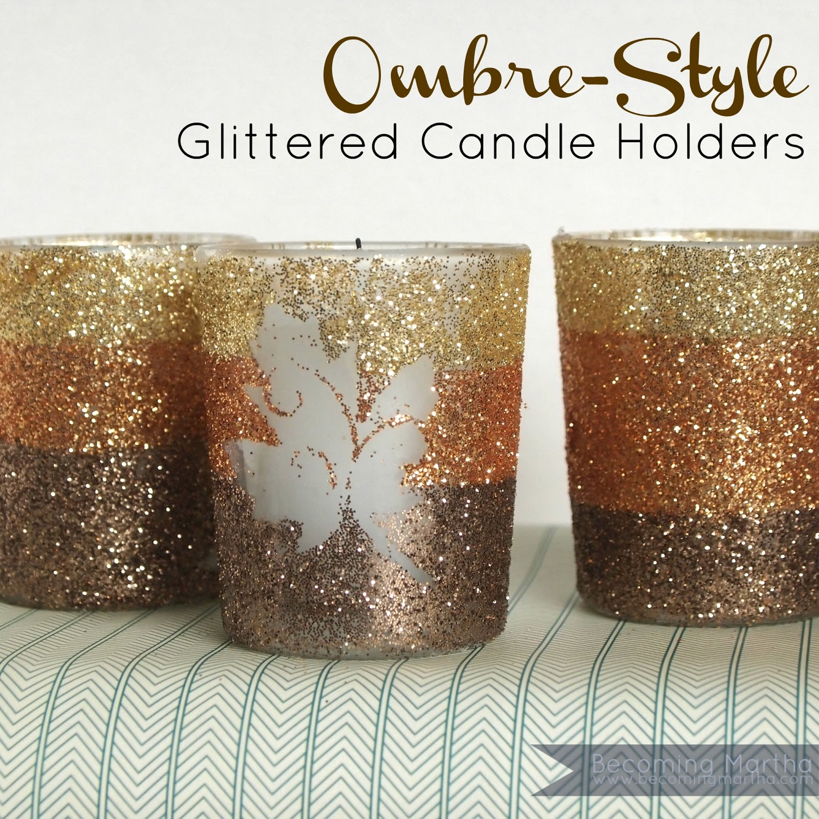 ombre style glittered candle holders the simply crafted life