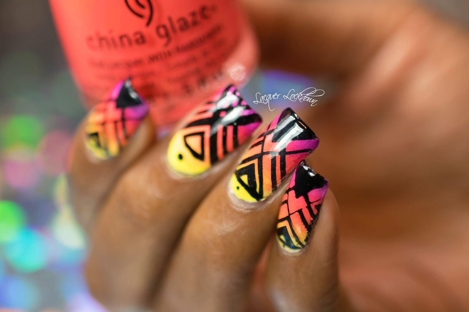 Lacquer Lockdown: MoYou London Triangle Grid Placement Neon Nail Art ...