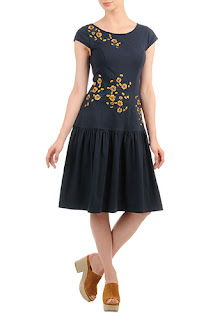 http://www.eshakti.com/shop/Dresses/Floral-embellished-low-waist-cotton-knit-dress-CL0036230
