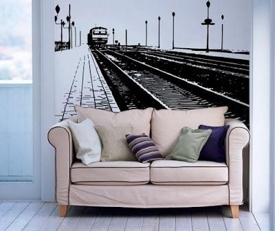 tren+istasyon+motifli+duvar+dekoru Evinize Duvar Sticker Modelleriyle Renk Katın