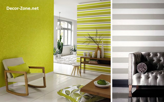 Stripped Wallpaper Designs For Living Room