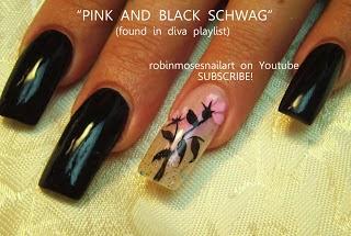 Robin moses nail art nail art pink nails spring nails nail art tutorial easy glam nails pink black and white glitter nail design prinsesfo Gallery