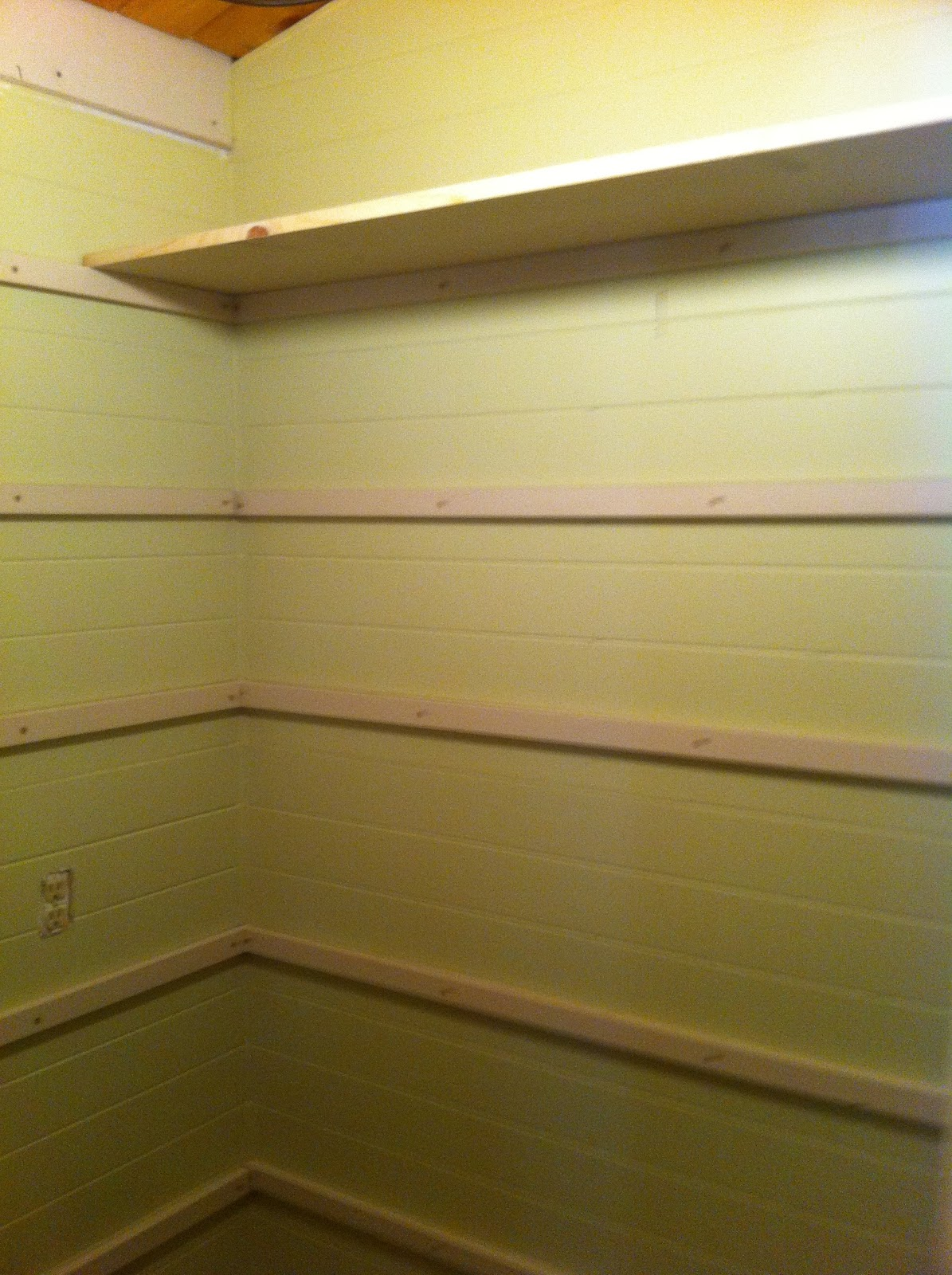 Once Upon A Cedar House: How To Install Pantry Shelves. Full resolution‎  photograph, nominally Width 1195 Height 1600 pixels, photograph with #4A3C12.
