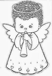 desenho de anjinho tocando flauta para pintar