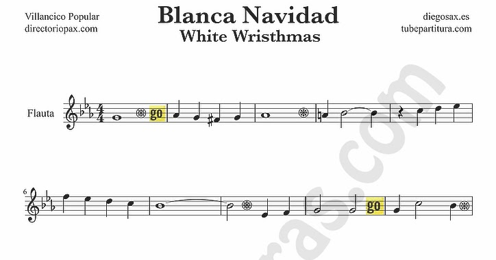 Tubescore white christmas sheet music for flute and - Partitura blanca navidad ...