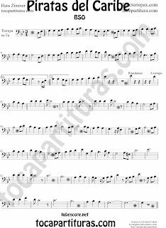 Partitura de Piratas del Caribe para Violonchelo  y Fagot en Clave de Fa en 4º línea (sheet music Pirates of the Caribbean Cello Score)   Para tocar con el primer vídeo (a la vez, suena igual). Partitura de Piratas del Caribe para Chelo en Clave de Fa en cuarta línea
