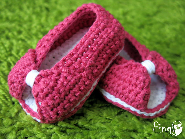 Mini Princess Slippers, crochet pattern by Pingo - The Pink Penguin