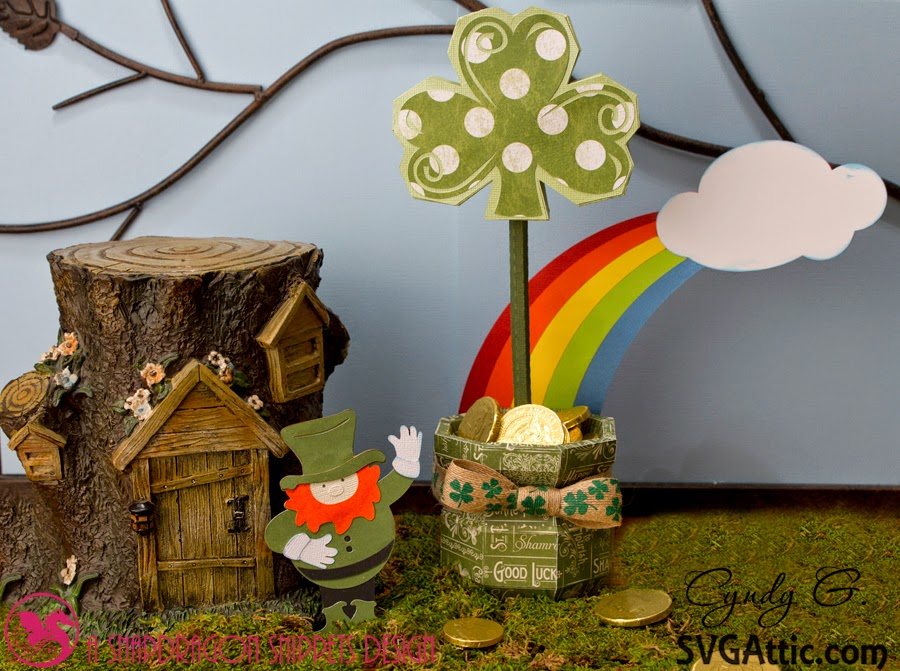 Woodland scene with leprechaun and pot of gold