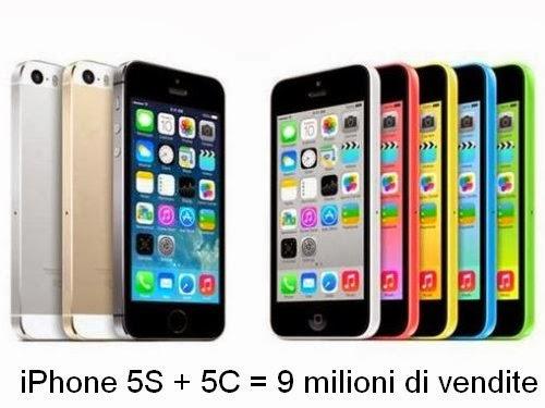 Nel primo weekend di vendite i nuovi smartphone iPhone 5S e 5C di Apple hanno venduto 9 milioni di unità