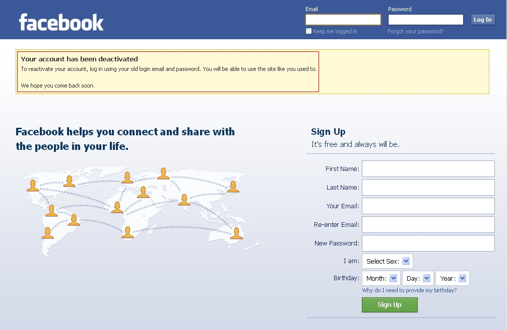 how to know if facebook account is deactivated