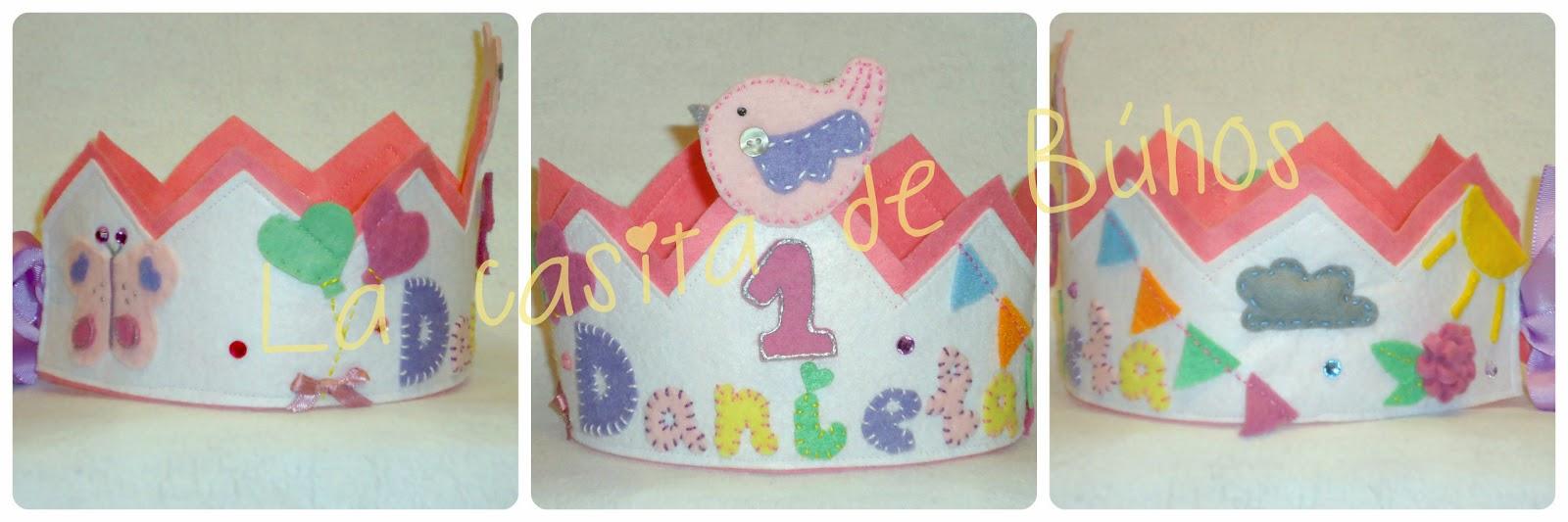 Corona de cumpleaños en fieltro - pájaros y mariposas