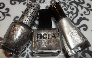 OPI 'Silver Shatter', NCLA 'Rock Solid', and Sally Hansen 'Silver Sweep'