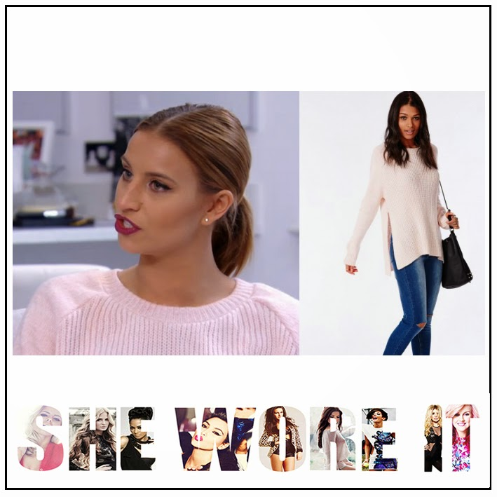 Ferne Mccann, Jumper Side Split Detail, Knitted, Missguided, Over-Sized, Pale Pink, Ribbed, The Only Way Is Essex, TOWIE,