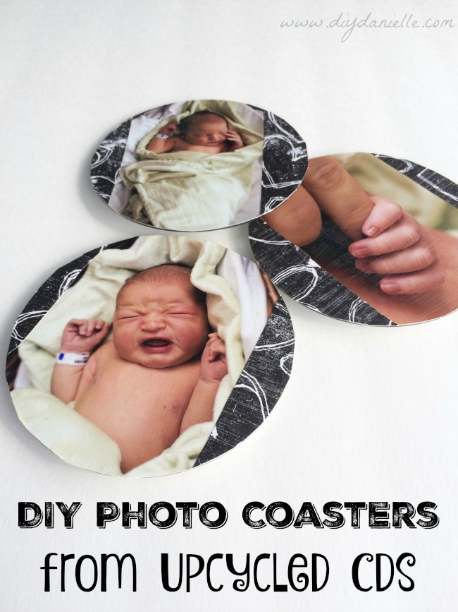 How to use old CDs or DVDs to create your own easy DIY photo coasters. #Diy #upcycling