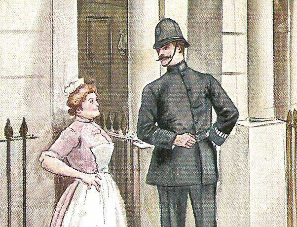 A Victorian police constable chatting to a maid in London