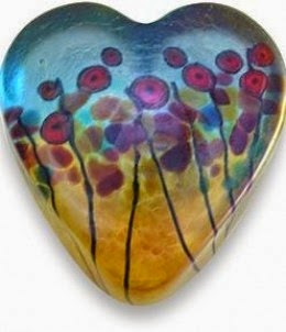 Robert Held California Poppies Heart-Shaped Paperweight