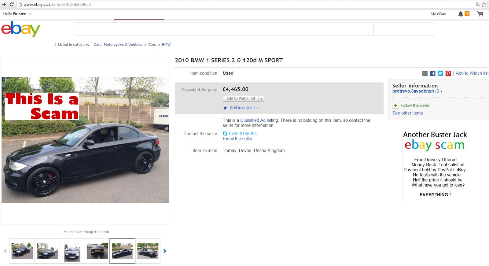 EBAY SCAM : 2010 BMW 1 SERIES 2.0 120d M SPORT | EA59XPC - FRAUD ...