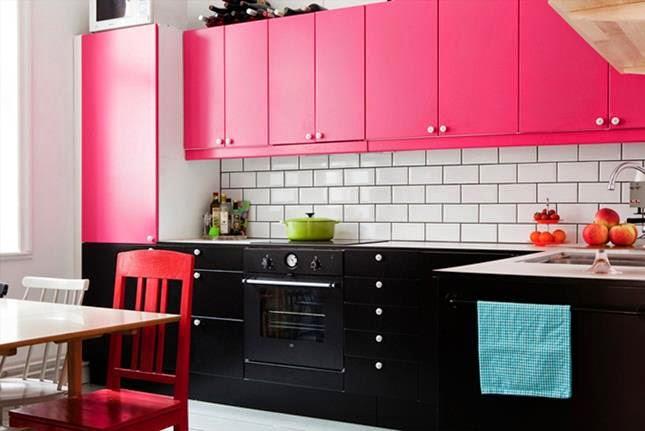 Dise os de cocina comedor con vivos colores como el pink - Cocinas con colores vivos ...