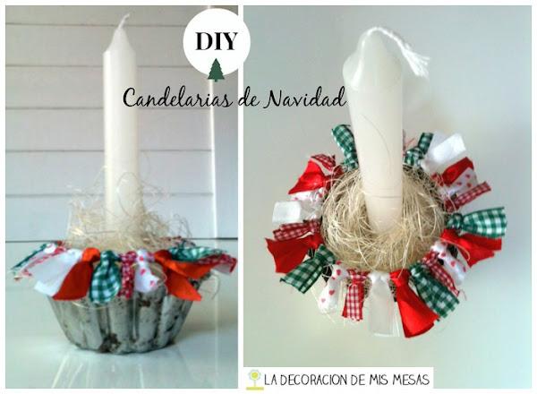 Decoracion navidad con cintas decorar tu casa es - Porta velas navidenas ...