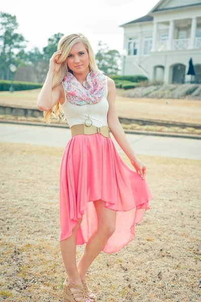 Pink high low skirts outfits photo