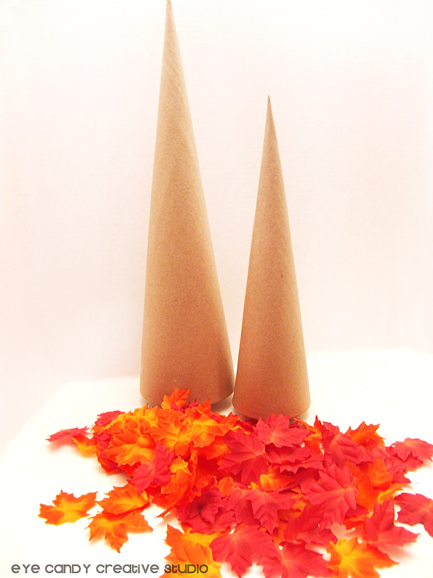 supplies needed for fall leaf tree, mod podge, leaves, paper mache tree