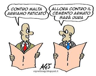 Italia-Malta, Sport, Calcio, Umorismo, vignetta