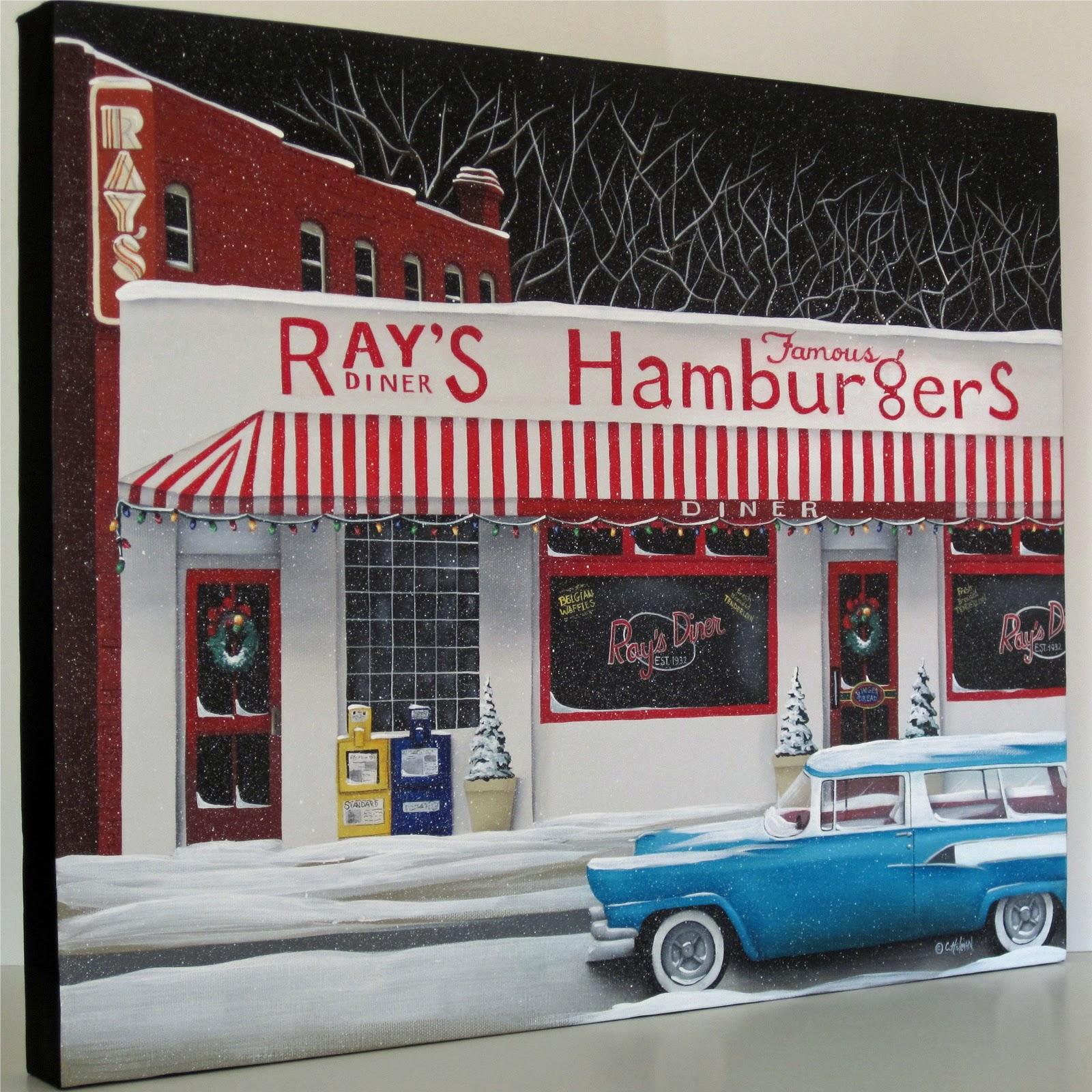 Catherine holman folk art christmas at ray 39 s diner folk for Diner artwork