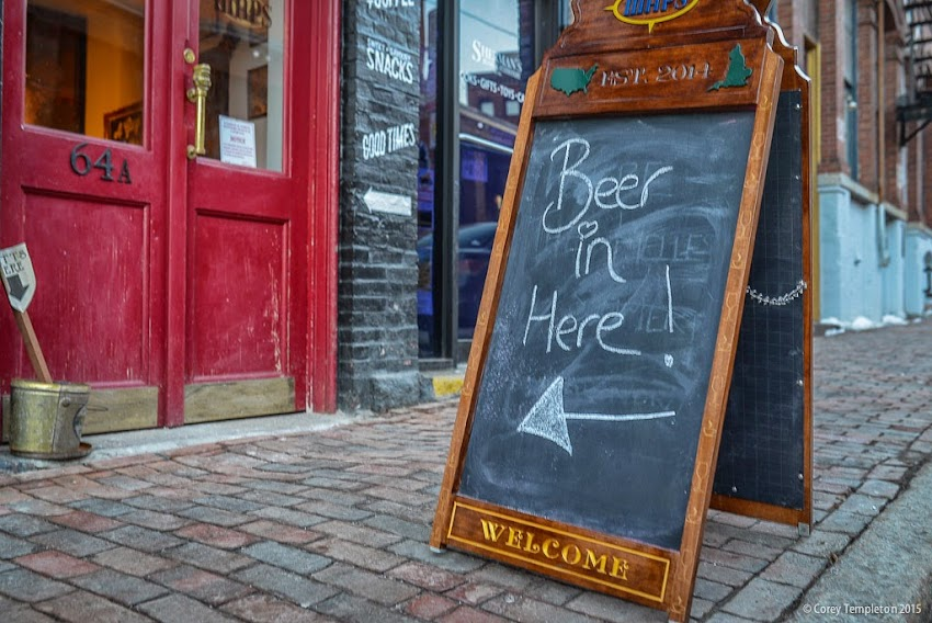 Portland, Maine March 2015 Beer in here Sign for Maps bar cafe on Market Street photo by Corey Templeton