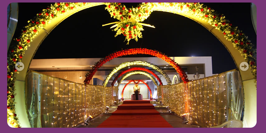 Wedding planner indian wedding hall and mandap entrance decorations