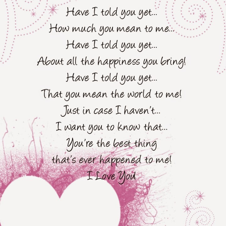 You mean world to me poem