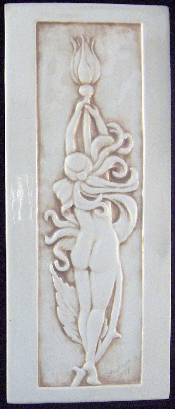 Decorative handmade ceramic tile handmade relief carved ceramic 4 x 10 relief carved rose faerie ceramic tile dailygadgetfo Gallery