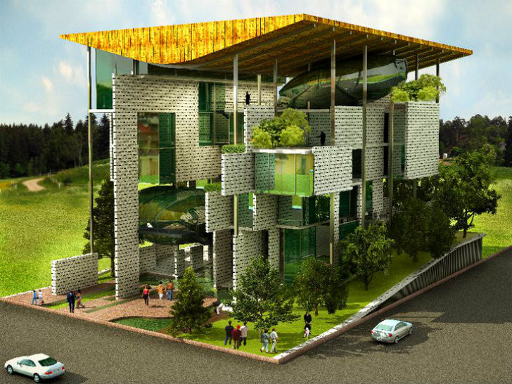 Green architecture m ofa unveils air filtering green for Sustainable building design