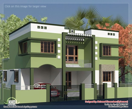 Tamilnadu style minimalist 2135 sq feet house design for House plans for 1200 sq ft in tamilnadu