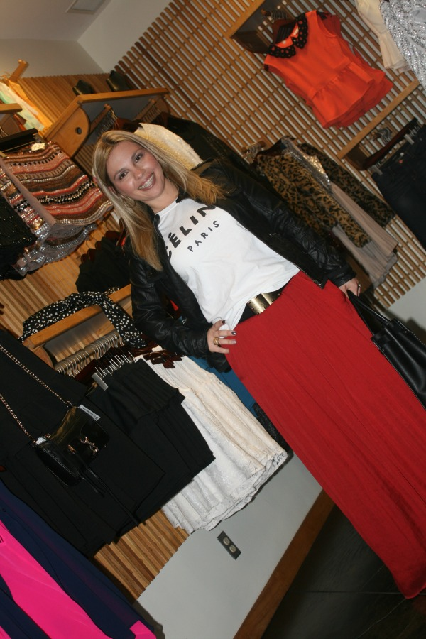 Red Maxi Skirt from Zara, Collection B Leather Jacket, BCBGMAXAZRIA Studded Waist Belt, Salvatore Ferragamo Briana Large Tote
