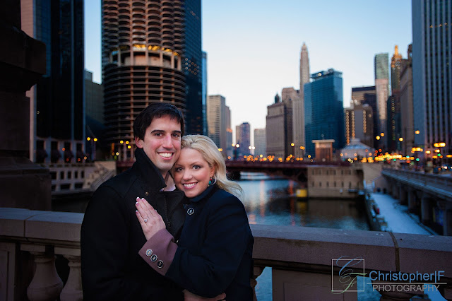 Chicago Night Engagement Photo River