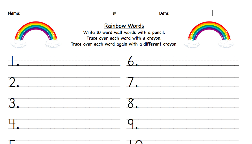 pound Words Worksheets moreover Rainbow Writing Spelling Words ...