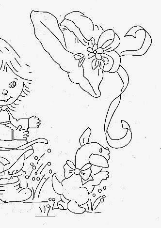 desenho de menina com chapeu e cachorro para pintar em fraldas
